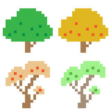 Illustration pixel art icon tree. Illustration vector isolate icon pixel art Stock Illustration