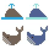 Illustration pixel art icon whale. Illustration vector isolate icon pixel art Stock Illustration