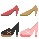 Illustration pixel art icon woman shoe. Illustration vector isolate icon pixel art Royalty Free Illustration