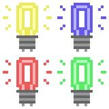 Illustration pixel art light bulb. Illustration vector isolate icon pixel art Stock Illustration