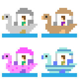 Illustration pixel art Pedal boat. Illustration vector square pixel art Vector Illustration