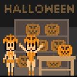 Illustration pixel art pumpkin girl hallloween Stock Image