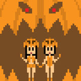 Illustration pixel art pumpkin girl Royalty Free Stock Photography