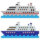 Illustration pixel art ship ocean. Illustration vector square pixel art Royalty Free Illustration