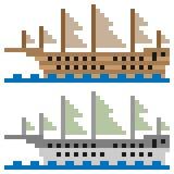 Illustration pixel art ship sail. Illustration vector square pixel art Royalty Free Illustration