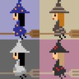 Illustration pixel art witch broom flying Stock Image