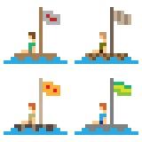 Illustration pixel art wooden raft. Illustration vector square pixel art Stock Illustration
