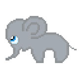 Illustration pixel elephant. For design Royalty Free Stock Images