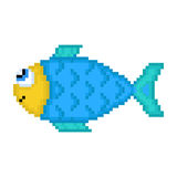 Illustration pixel fish. For design Stock Photo