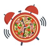 Illustration pizza with clock, design template. Concept for pizzeria, food delivery, italian restaurant. On white background royalty free illustration