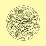 Illustration Pizza dans le style de vintage Vacances heureuses Photo libre de droits