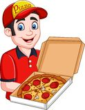 Pizza deliveryman holding open cardboard box with pepperoni pizza. Illustration of Pizza deliveryman holding open cardboard box with pepperoni pizza vector illustration