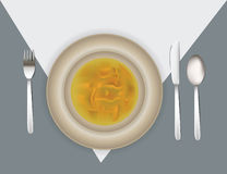 Illustration of place setting with soup Royalty Free Stock Photography