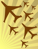 Illustration, Plane Fleet. Illustration in brown and yellow, plane fleet attack Royalty Free Stock Photography