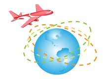An Illustration of A Plane Flying Around The World Stock Photography