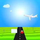 Illustration with plane and red machine Royalty Free Stock Photo