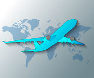 Illustration of plane with worl Stock Photo