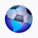 Illustration of planet and ball. Illyustrciya of planet and soccer ball stock illustration