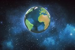 Illustration of a planet earth in space. Globe of the earth. stock illustration