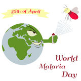 Illustration of the planet and mosquito for the World Malaria Day Royalty Free Stock Photo