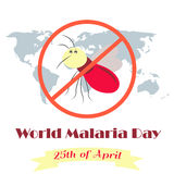 Illustration of the planet and mosquito for the World Malaria Day Stock Photos