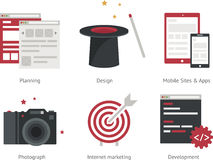 Illustration of planning, design, mobile sites and applications, camera, internet, marketing, development. Stock Image
