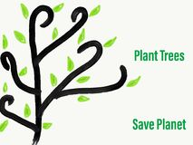Illustration Plant Trees Save Planet Royalty Free Stock Image