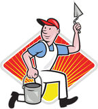 Plaster Masonry Worker Cartoon Royalty Free Stock Images