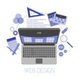 Illustration plate abstraite des concepts de web design et de développement Éléments pour le mobile et les applications Web Photographie stock