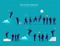 Illustration plate avec des caractères et des métaphores de bureau d'homme d'affaires d'isolement sur le fond bleu illustration libre de droits