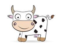 Illustration plate d'animal de ferme de vecteur de vache à bande dessinée Photos stock
