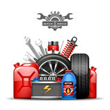 Illustration plate d'annonce de composition en service de voiture illustration de vecteur