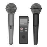 Illustration plate d'icônes de vecteur de microphone et de dictaphone Équipement audio de technologie Images stock