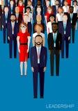 Illustration plate d'un chef et d'une équipe Une foule des hommes Image stock