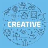 Illustration plate de cercle de Blue Line créative Photo stock