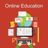 Illustration plate de conception d'éducation en ligne Photo libre de droits