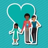Illustration plate de conception de famille, icône de personnes Photographie stock