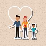 Illustration plate de conception de famille, icône de personnes Image libre de droits