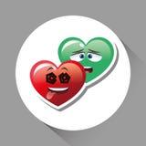 Illustration plate de conception de visage de bande dessinée, de forme de coeur et d'amour Photos stock