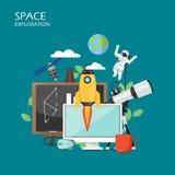 Illustration plate de conception de style de vecteur d'exploration d'espace illustration libre de droits