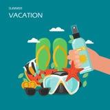 Illustration plate de conception de style de vecteur de vacances d'été illustration libre de droits