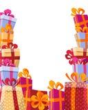 Illustration plate de fond de style de volume - montagne des cadeaux dans des boîtes lumineuses avec des rubans et des divers cad illustration de vecteur