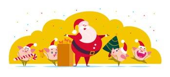 Illustration plate de Joyeux Noël de vecteur : Santa Claus, elfe mignon de porc avec l'arbre de sapin décoré de nouvelle année, c illustration libre de droits