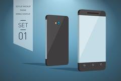 Illustration plate de Minimalistic 3d de téléphone portable perspective v Photos stock
