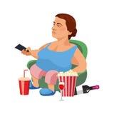 Illustration plate de mode de vie malsain et du repos à la maison Illustration de Vecteur