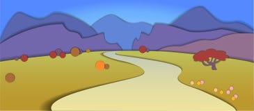 Illustration plate de paysage de nature de conception avec m bleu et pourpre Images libres de droits