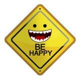 Illustration plate de signe heureux Photo stock
