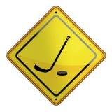 Illustration plate de signe jaune d'hockey Images stock
