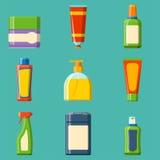 Illustration plate de style de bouteille de Bath de shampooing de douche en plastique de récipient pour la conception d'hygiène d Photo stock