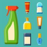 Illustration plate de style de bouteille de Bath de shampooing de douche en plastique de récipient pour la conception d'hygiène d Images stock